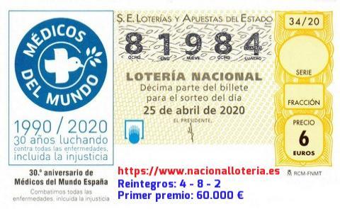 Loteria Nacional Sábado 25 De Abril De 2020 Comprobar Lotería Nacional