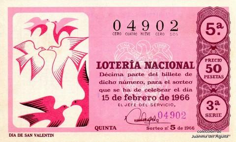 Décimo De Lotería Nacional De 1966 5 Dia De San Valentin