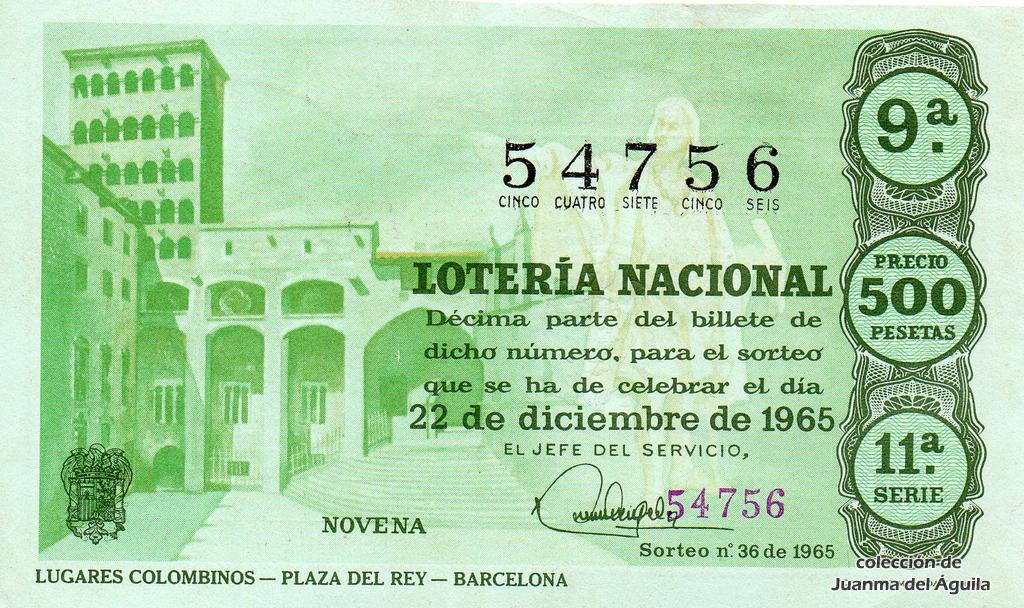 Calendario Del Ano 1965.Decimo De Loteria Nacional De 1965 36 Lugares Colombinos